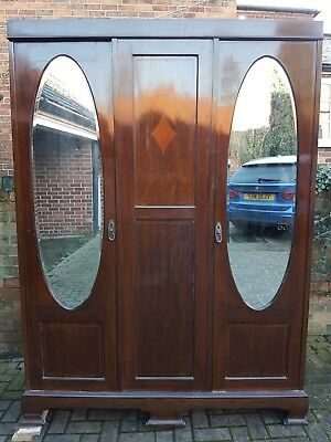 Antique Wardrobe - Solid Wood with Two Mirrored Doors