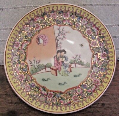 Antique Chinese Famille Rose Thousand Flower Geisha Girl Plate Charger Pin Mark