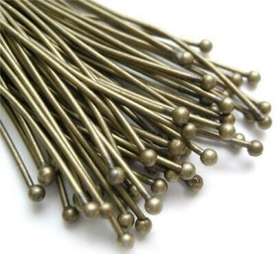 TOP QUALITY BALL HEAD PINS 60mm x 0.7mm ANTIQUE BRONZE 50 PER BAG