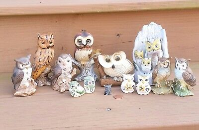 Lot 13 Owls Figurines Porcelain Pottery Pewter Kitsch Shells Ceramic Mexico Vtg