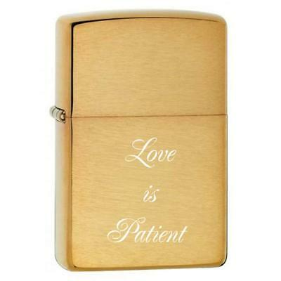 Personalized Gold Brush Zippo LIGHTER Free Laser Engraving New in Box Mom Dad