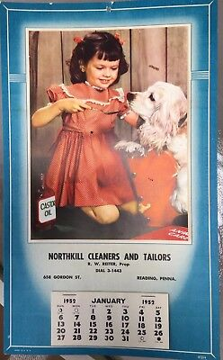 Vintage Calendar 1952 Northkill Cleaners Tailors Reiter Prop. Reading PA