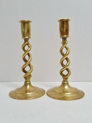 Pair of 7 1/2 Inch Solid Brass Open Barley Twist Candlesticks Candle Holders