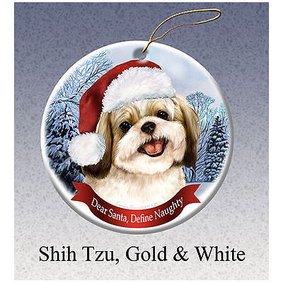Shih Tzu Gold Howliday Porcelain China Dog Christmas Ornament