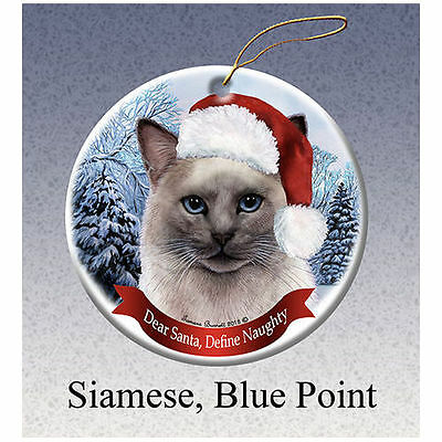 Siamese Blue Point Cat Howliday Porcelain China Dog Christmas Ornament