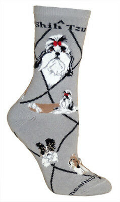 Shih Tzu Dog Breed Gray Lightweight Stretch Cotton Adult Socks