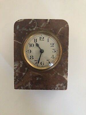 Antique French Red Marble Desk Clock