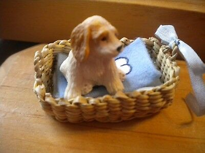 Dollhouse Miniature Resin Dog, with Basket bed & Blanket