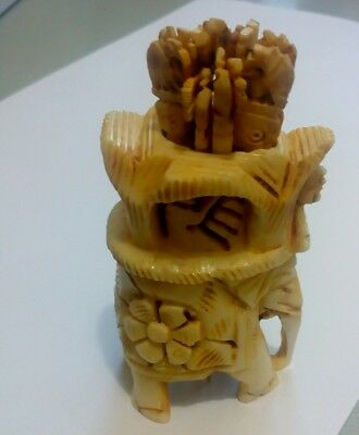 Hand Carved Antique Bovine Bone Tooth picks and Holder Asian Elephant design