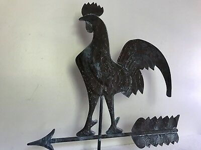 Beautiful Antique Large Copper Rooster Weathervane w/ Arrow & Stand