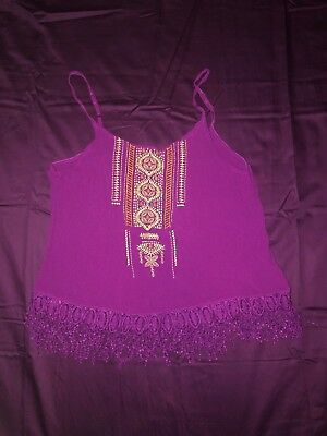 Maurices women's sleeveless tank top size L Large magenta hot pink fringe style