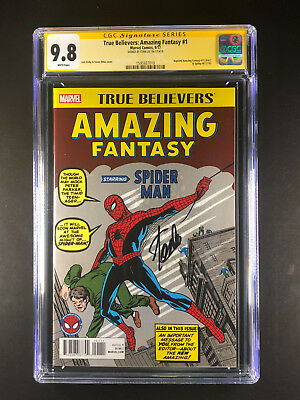 True Believers Amazing Fantasy 15 CGC 9.8 signed by Stan Lee Reprint Spider-Man