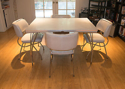 Vintage 1950's Mid-century Formica Chrome Table & 4 Chairs