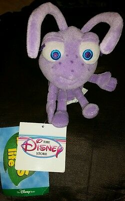 Disney Store Pixar A Bug's Life Plush Bean Bag Doll Dot Purple Ant NWT Tags 8""