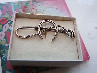 Fabulous Vintage Lucky Rose Gold On Silver Riding Crop & Horseshoe Brooch