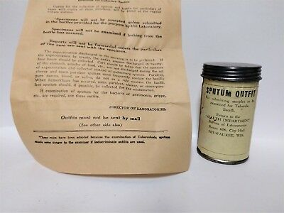 Vintage TUBERCULOSIS Sputum Outfit Collection Sample Container Instructions