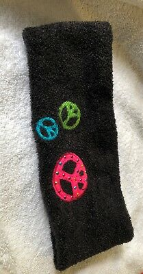 Justice Headband Soft Black Fleece Bright Peace Signs One Size