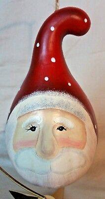 Hand painted Santa Head Gourd Holiday Ornament