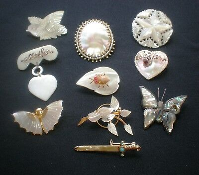 10 Vtg Mother Of Pearl Brooch Sterling Alpaca Mexico Abalone Shell Butterfly Pin