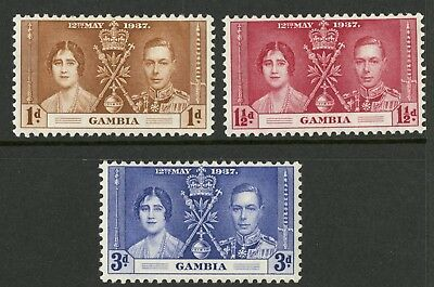 Gambia   1937  Scott # 129-131  Mint Lightly Hinged Set