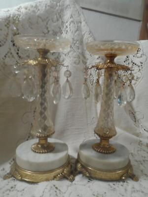 2 Vintage TALL Gilt Bronze Claw Ftd.Italy Marble Base Crystal Prism CandleHolder