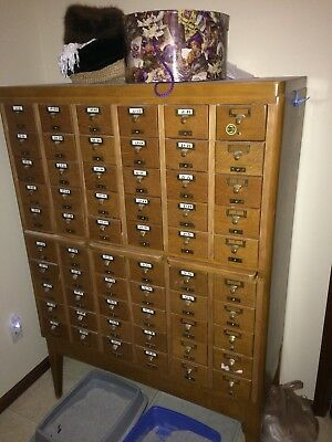 Vintage Oak 60 Drawer Library Card Catalog
