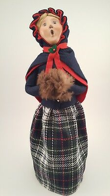 Byers Choice Female Caroler with Navy Cape and Plaid Skirt