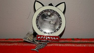 Metal Cat  photo Frame Christmas Ornament Bling Fish Skeleton New Tag