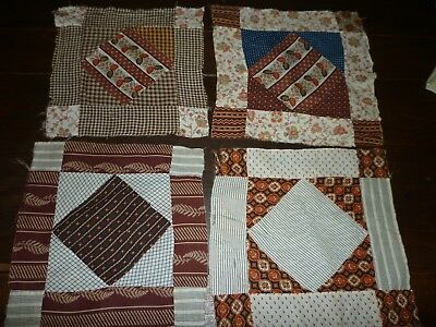 4 Antique Quilt Blocks 1800's Calico's Hand Pieced Copper Madder Early #5