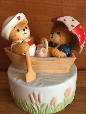 "1984 Musical Lucy and Me Bears Music Box ""Row Row Row Your Boat"""