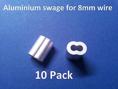 10 X M8 ALUMINIUM SWAGE FERRULE for 8mm STAINLESS WIRE CABLE ROPE CRIMP CRIMPING