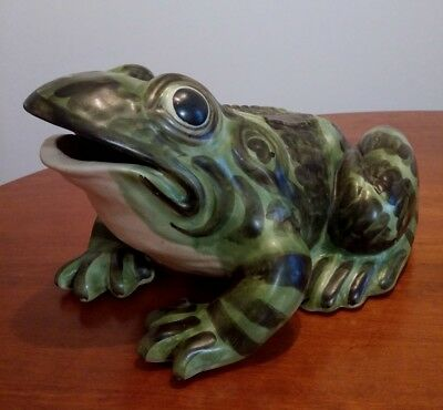 Rare Huge Brush McCoy Pottery Frog Yard Sprinkler Ornament  16""
