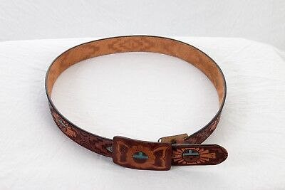 Vintage Chambers Of Phoenix Tooled Painted Leather Belt Mens 36 Southwest