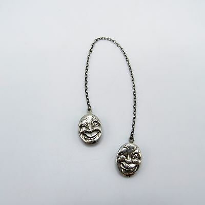 Antique Sterling Man in the Moon Baby Sweater Clips, NR