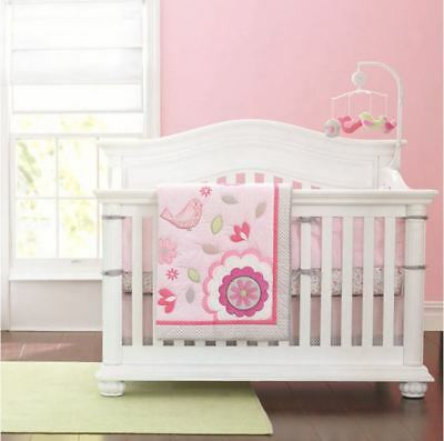 Baby Girls 7 Pieces Pink Garden Nursery Bedding Set Crib Cot Sets Nursery Decor