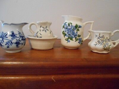 Lot of 4 Vintage Ceramic Pitchers Cash Family, Meaders, and Meissen