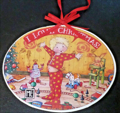 Mary Engelbreit I Love Christmas Wood Ornament Midwest of Cannon Falls 5""