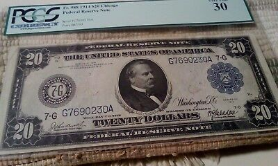 1914 $20 Chicago Federal Reserve Note Pcgs 30 Very Fine