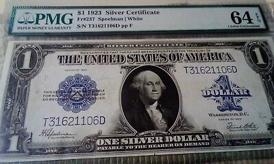 1923 $1 Silver Certificate Large Size Banknote Fr-237, Certified Pmg-Cu64-Epq