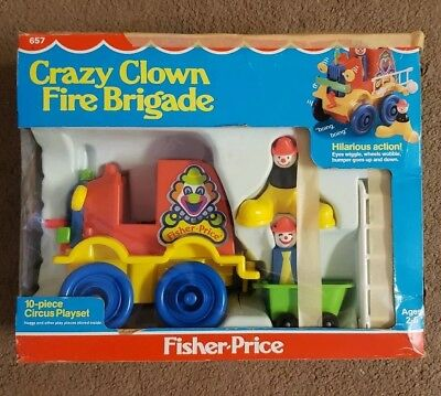 NEW Vintage Fisher Price Crazy Clown Fire Brigade # 657 in Box Kid Child Toy