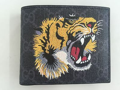 NEW Authentic Gucci Tiger GG Men Wallet Black With Box