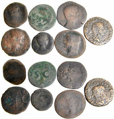 Lot of 7 Early Imperial Roman Asses from the Time of Augustus and Tiberius
