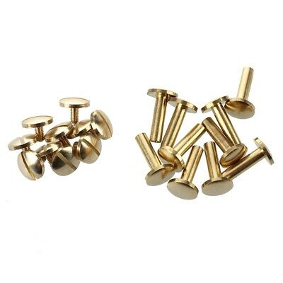 10x Arc Solid Brass Button Stud Screw Nail Screw back Leather Rivet Belt 15mm WI