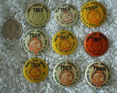 Lot of 9 Mary's Peak Shriners Trek Oregon Vintage Pin Pinbacks Buttons #30006