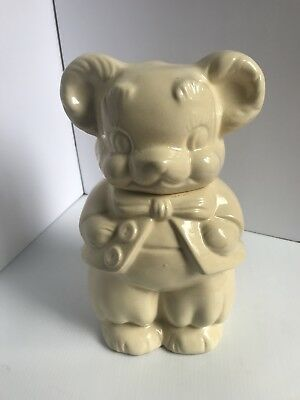 VINTAGE 1950's Farmhouse Cream Pottery TURNABOUT BEAR COOKIE JAR