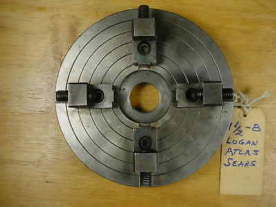 """Independent 4-Jaw Lathe Chuck for Logan Atlas Sears Lathes 1 1/2-8 Mount 8"""" Dia"""