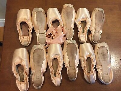 6 pairs used Freed of London pointe shoes, pink satin, for crafts and decoration
