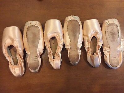 Three pairs used Freed of London pointe shoes, for crafts and decoration