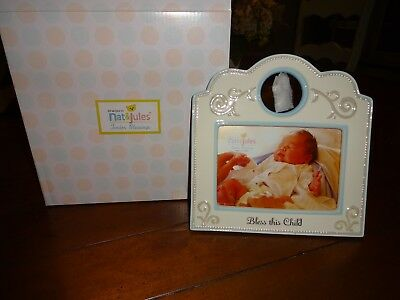 Nat and Jules Bless This Child Frame, Blue Brand new in box