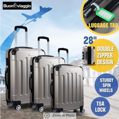 3pc Luggage Suitcase Trolley Set TSA Carry On Bag Hard Case Lightweight Champain